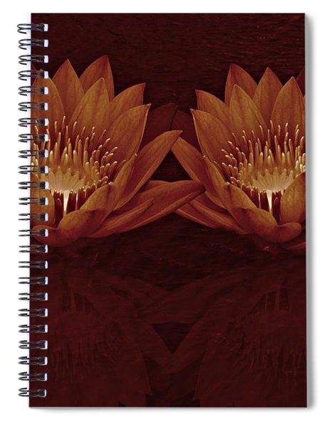 Water Lilies In Deep Sepia Spiral Notebook