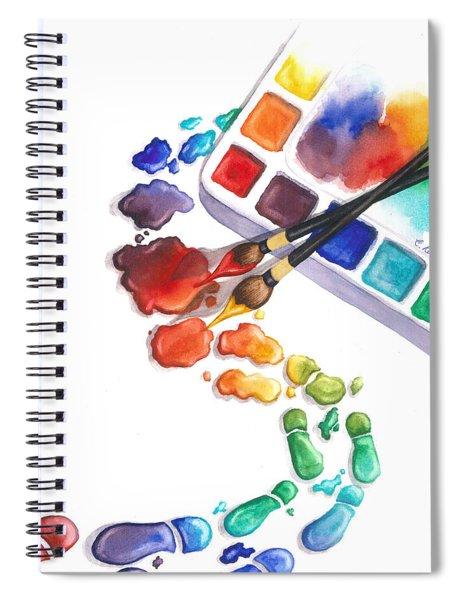 Watercolor Footprints Spiral Notebook