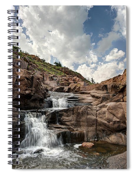 Waterfall At Forty Foot Hole In The Wichita Mountains Spiral Notebook