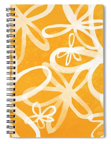 Waterflowers- Orange And White Spiral Notebook by Linda Woods