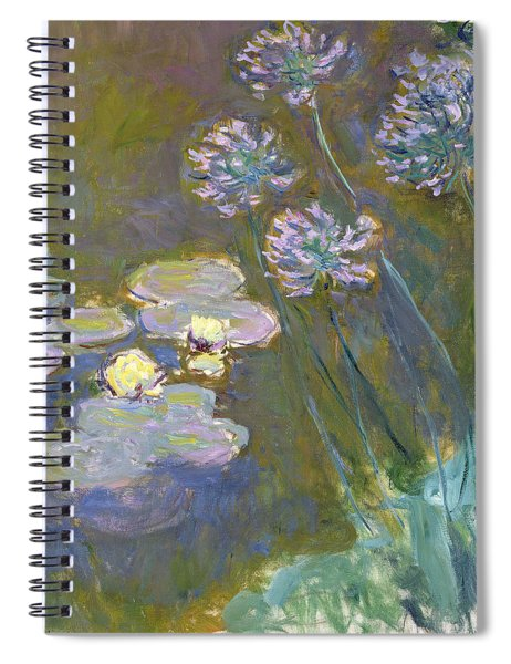 Waterlilies And Agapanthus Spiral Notebook