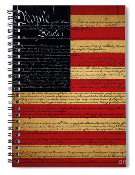 We The People - The Us Constitution With Flag - Square Spiral Notebook