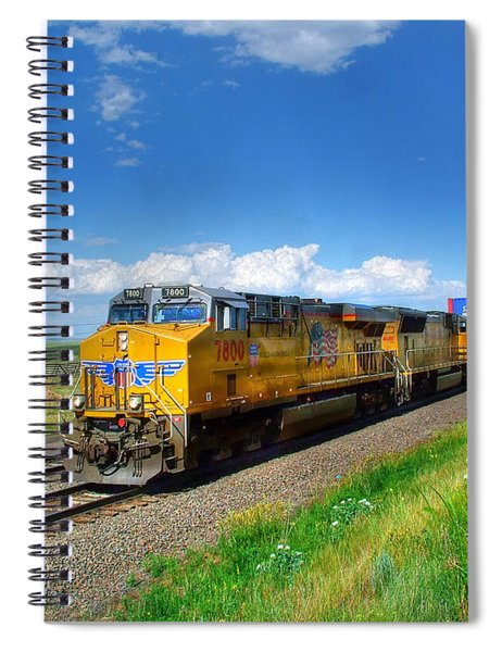 West Bound Containers On The Union Pacific Main Line Spiral Notebook