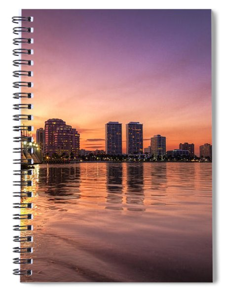West Palm Beach Skyline At Dusk Spiral Notebook