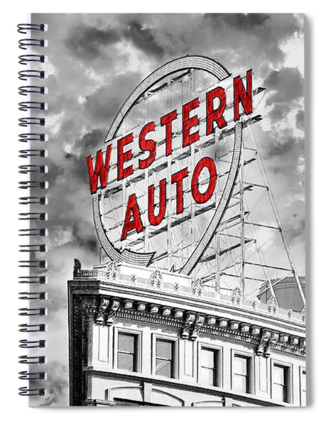Western Auto Sign Downtown Kansas City B W Spiral Notebook