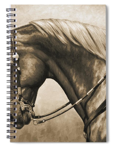 Western Horse Painting In Sepia Spiral Notebook