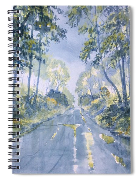 Wet Road In Woldgate Spiral Notebook