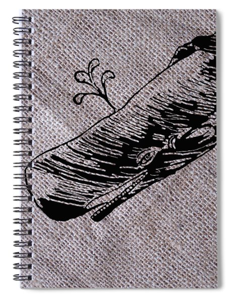 Whale On Burlap Spiral Notebook