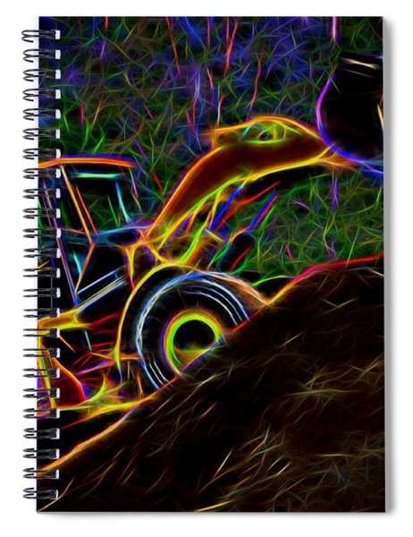 Wheel Loader Moving Dirt - Neon Spiral Notebook