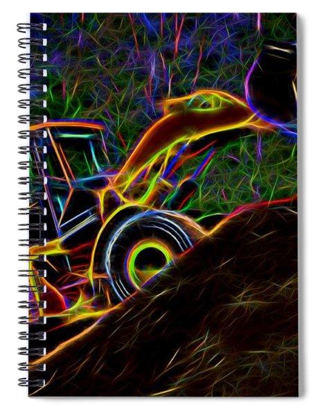 Wheel Loader Moving Dirt - Neon Spiral Notebook
