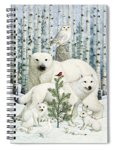 White Animals Red Bird Spiral Notebook