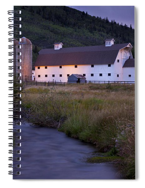 Spiral Notebook featuring the photograph White Barn by Brian Jannsen
