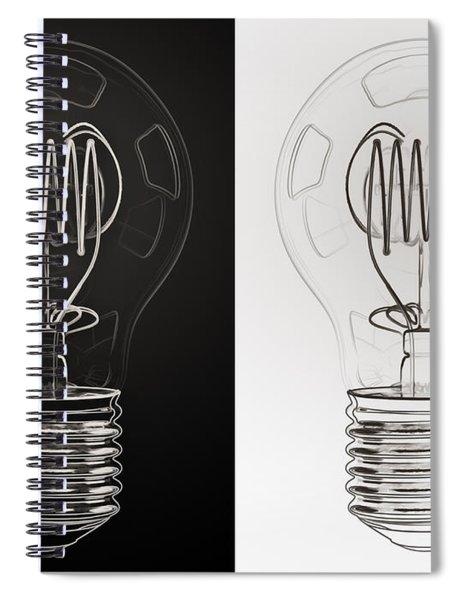 White Bulb Black Bulb Spiral Notebook