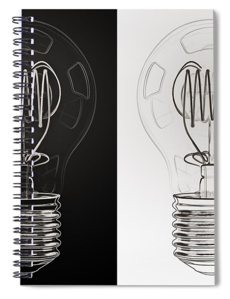 White Bulb Black Bulb Spiral Notebook
