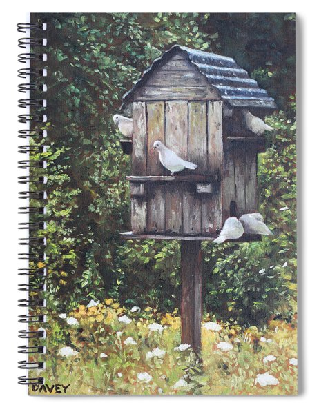 White Doves Using A Dovecote  Spiral Notebook
