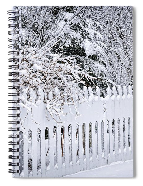 White Fence With Winter Trees Spiral Notebook