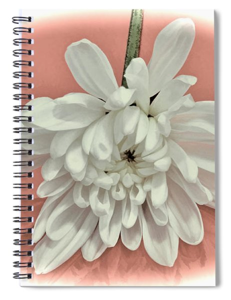 White Flower On Pale Coral Vignette Spiral Notebook