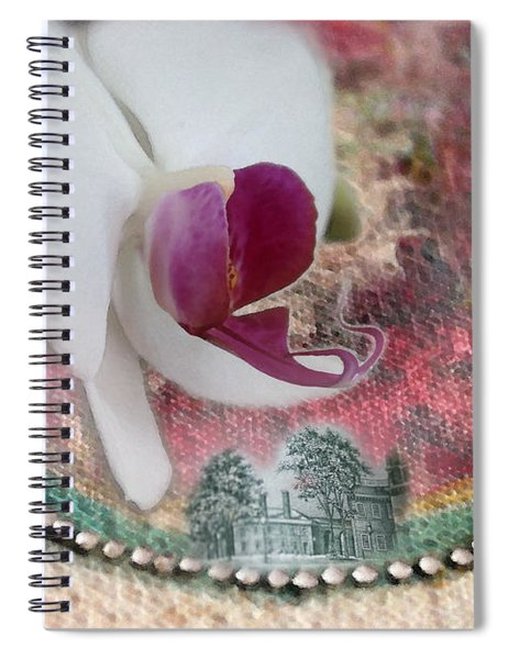 white Orchid on a Landscape Spiral Notebook