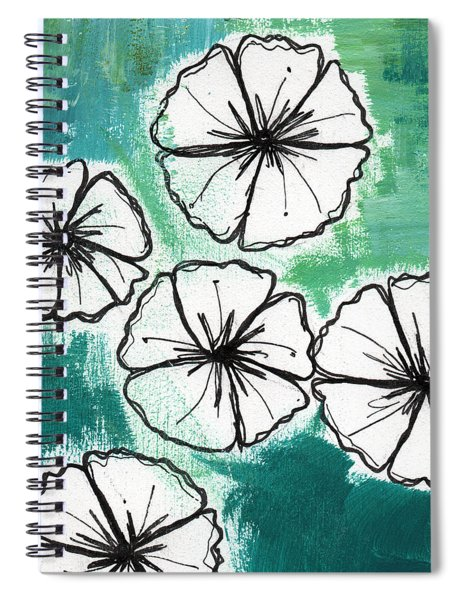 White Petunias- Floral Abstract Painting Spiral Notebook