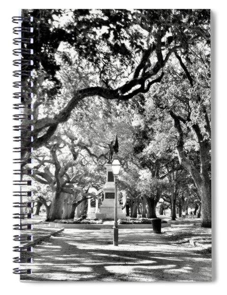 White Point Gardens At Battery Park Charleston Sc Black And White Spiral Notebook