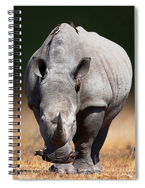 White Rhinoceros  Front View Spiral Notebook