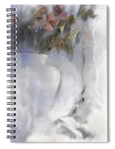 White Still Life Vase And Candlestick Spiral Notebook