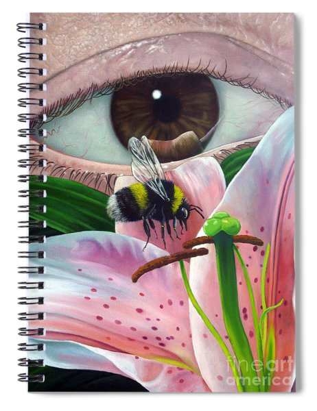 White Tailed Bumble Bee Upon Lily Flower Spiral Notebook