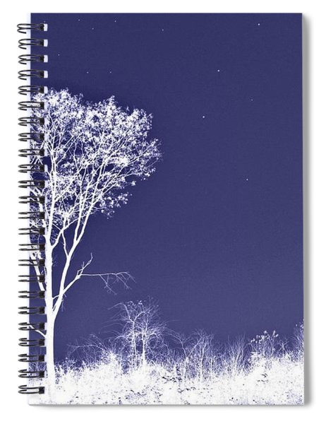 White Tree - Blue Sky - Silver Stars Spiral Notebook