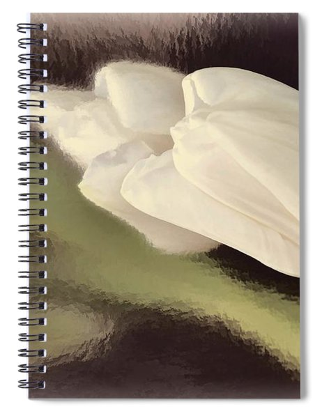 White Tulip Reflected In Misty Water Spiral Notebook