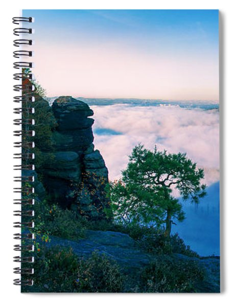 White Wafts Of Mist Around The Lilienstein Spiral Notebook