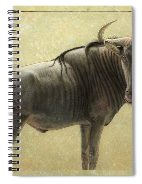 Spiral Notebook featuring the painting Wildebeest by James W Johnson