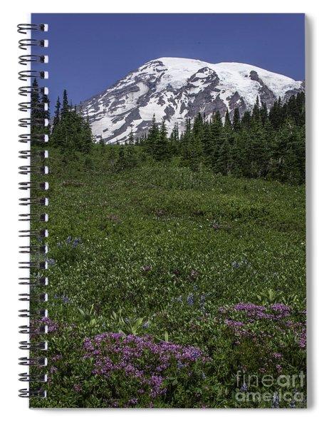 Wildflowers And Mt Rainier Summit Spiral Notebook