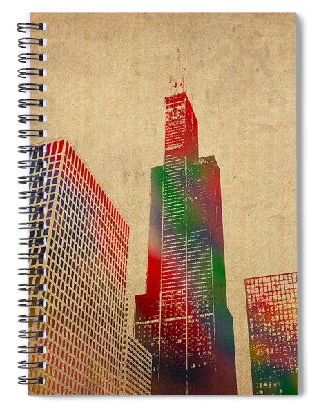 Willis Sears Tower Chicago Illinois Watercolor On Worn Canvas Series Spiral Notebook