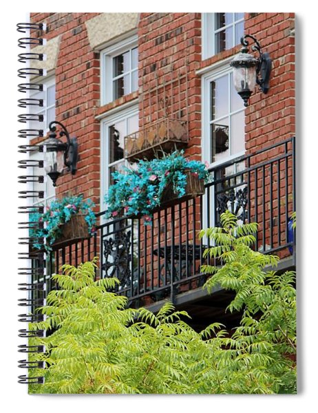 Blue Flowers On A Balcony  Spiral Notebook