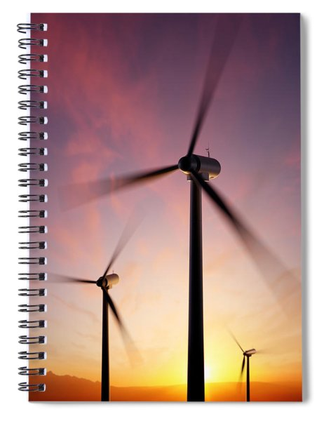 Wind Turbine Blades Spinning At Sunset Spiral Notebook