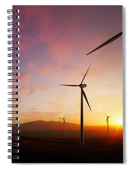 Wind Turbines At Sunset Spiral Notebook