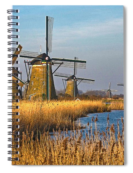 Windmills And Reeds Near Kinderdijk Spiral Notebook