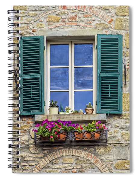 Window Of Tuscany With Green Wood Shutters Spiral Notebook