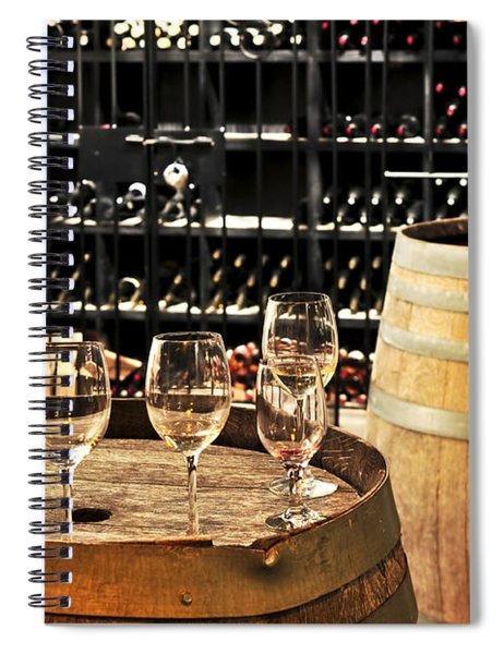 Wine Glasses And Barrels Spiral Notebook