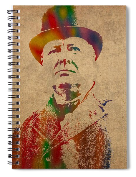 Winston Churchill Watercolor Portrait On Worn Parchment Spiral Notebook by Design Turnpike