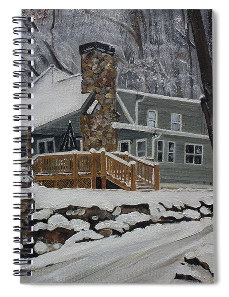 Spiral Notebook featuring the painting Winter - Cabin - In The Woods by Jan Dappen