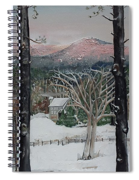 Spiral Notebook featuring the painting Winter - Cabin - Pink Knob by Jan Dappen