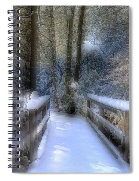 Winter Light On Bridge Spiral Notebook