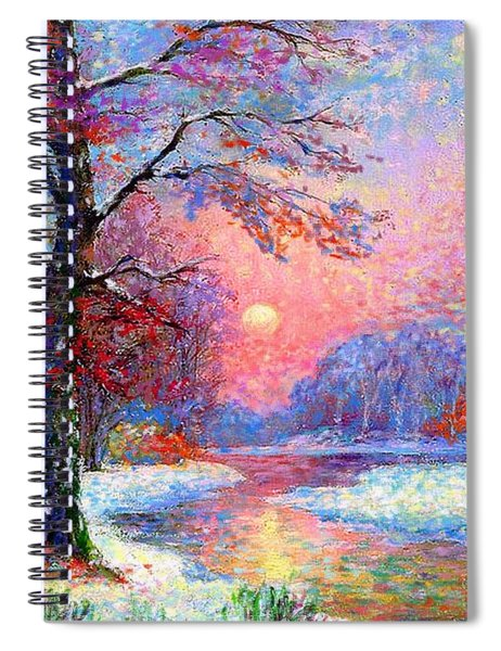 Winter Nightfall, Snow Scene  Spiral Notebook