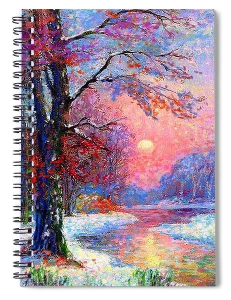 Winter Nightfall, Snow Scene  Spiral Notebook