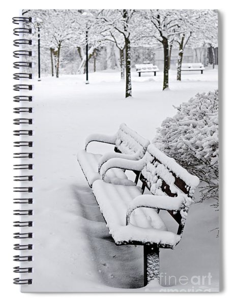 Winter Park With Benches Spiral Notebook by Elena Elisseeva