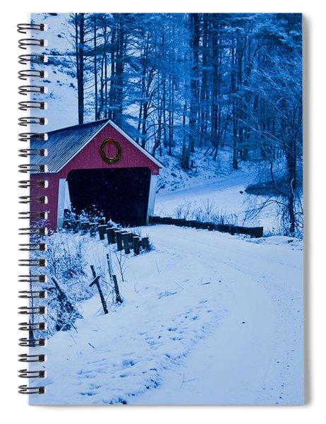 winter Vermont covered bridge Spiral Notebook