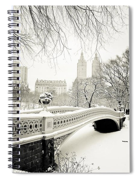 Winter's Touch - Bow Bridge - Central Park - New York City Spiral Notebook