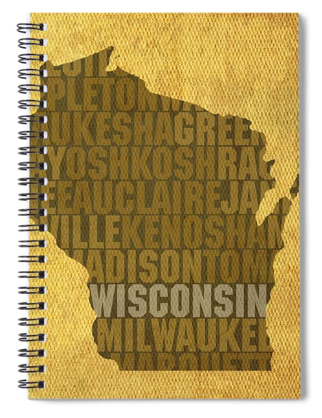 Wisconsin Word Art State Map On Canvas Spiral Notebook by Design Turnpike