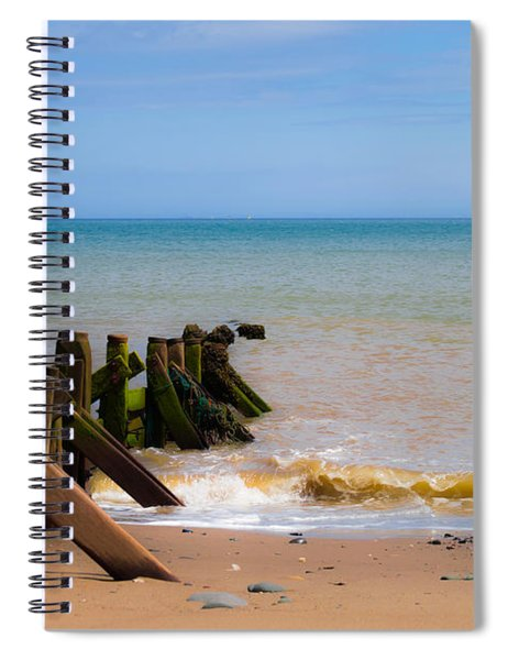 Spiral Notebook featuring the photograph Withernsea Groynes by Scott Lyons